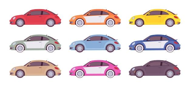 Zestaw ekonomicznego samochodu w jasnych kolorach