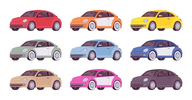 Zestaw ekonomicznego samochodu w różnych kolorach
