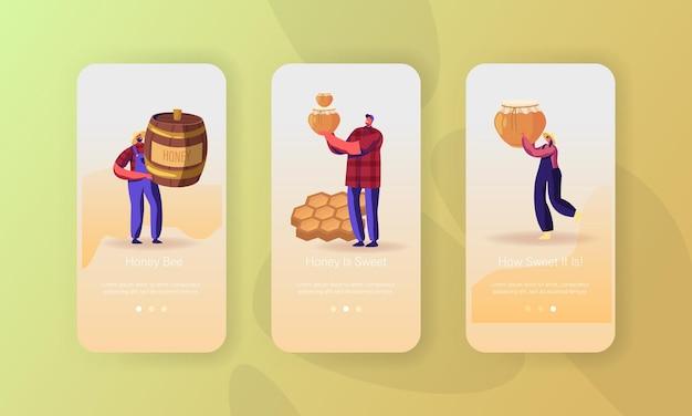Zestaw ekranów aplikacji mobilnej dla przemysłu pszczelarskiego.