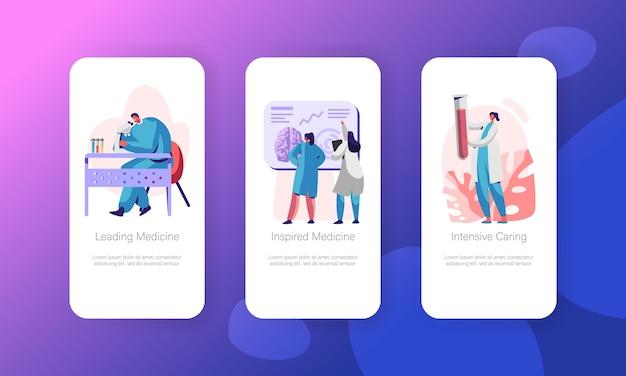 Zestaw ekranów aplikacji mobilnej medical neurology research. technologia opieki zdrowotnej. man laboratory przeglądaj w witrynie microscope lub na stronie internetowej. ilustracja wektorowa płaski kreskówka intensywnej medycyny