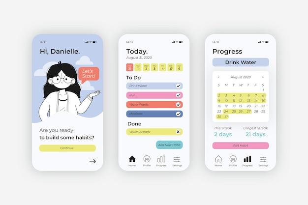 Zestaw ekranów aplikacji śledzących cele i nawyki