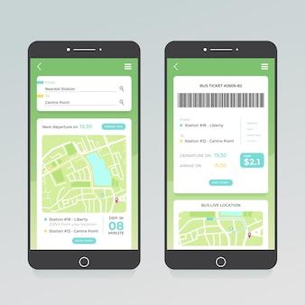Zestaw ekranów aplikacji transportu publicznego