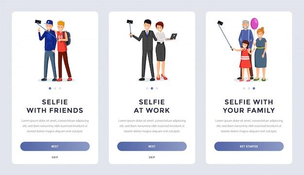 Zestaw ekranów do mobilnej aplikacji do selfie