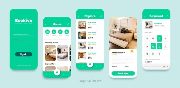Zestaw ekranów mobilnych z projektem interfejsu użytkownika dla aplikacji do rezerwacji hoteli