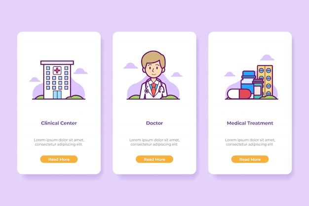 Zestaw ekranów onboarding hospital medical application interface