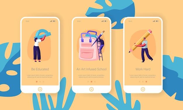 Zestaw ekranów pokładowych aplikacji mobilnej powrót do szkoły