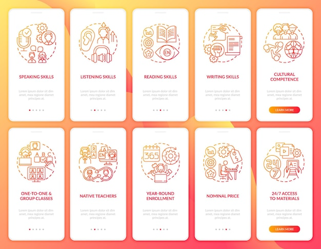 Zestaw ekranów stron aplikacji mobilnej do nauki języka