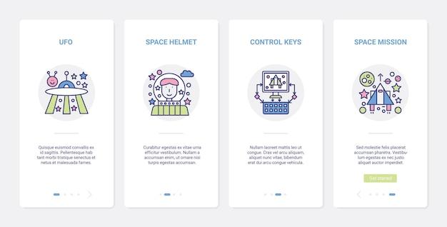 Zestaw ekranów strony aplikacji mobilnej do gry wideo w przestrzeni kosmicznej misji ui ux