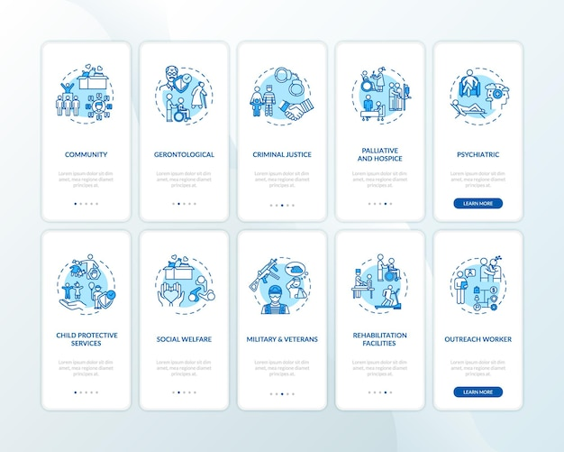 Zestaw ekranów strony aplikacji mobilnej do wprowadzania wsparcia społeczności z koncepcjami. pracownik publiczny. przewodnik po organizacji opieki społecznej 5 kroków instrukcje graficzne. szablon wektorowy interfejsu użytkownika z kolorowymi ilustracjami rgb