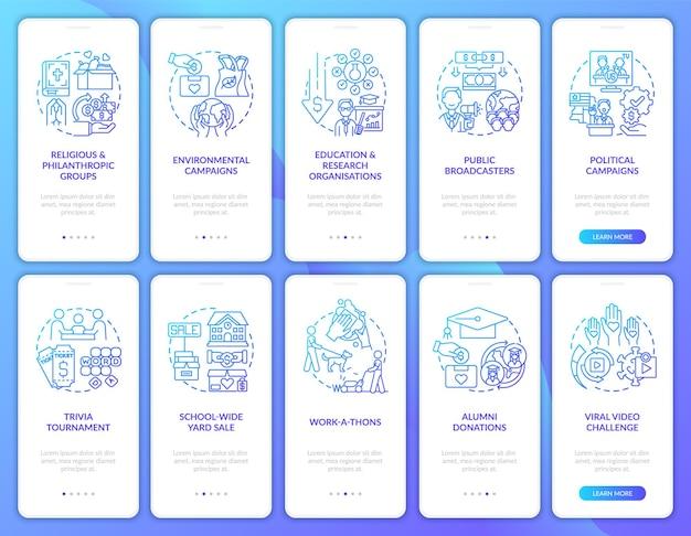 Zestaw ekranów strony aplikacji mobilnej na wsparcie finansowe na cele charytatywne. przewodnik po fundraisingu 5 kroków instrukcje graficzne z koncepcjami. szablon wektorowy ui, ux, gui z liniowymi kolorowymi ilustracjami