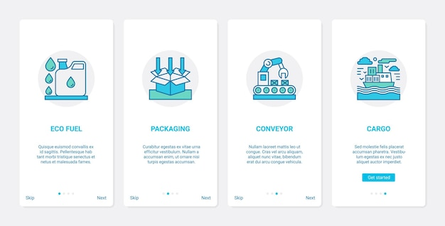 Zestaw ekranów strony aplikacji mobilnej ux ui technologii dostarczania ekologicznego