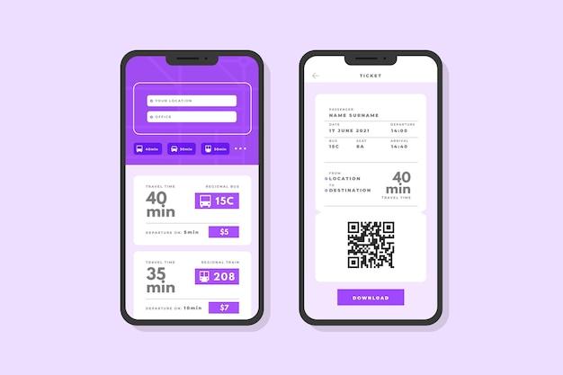 Zestaw ekranów szablonów aplikacji transportu publicznego