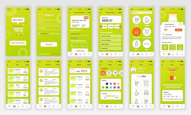 Zestaw ekranów ui, ux, gui płaska aplikacja na zakupy