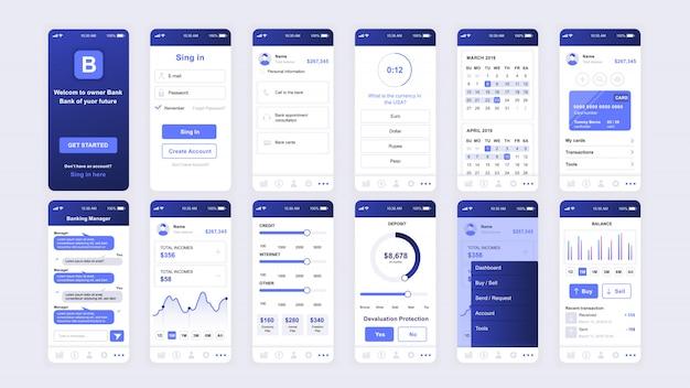 Zestaw ekranów ui, ux, gui płaski szablon aplikacji bankowej
