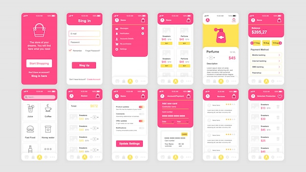 Zestaw ekranów ui, ux, gui płaski szablon aplikacji do zakupów