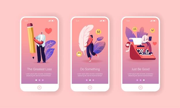 Zestaw ekranów wbudowanych w stronę aplikacji mobilnej zawodu pisarza.