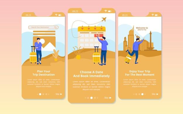 Zestaw ekranowych interfejsów użytkownika z ilustracjami przygotowania do podróży