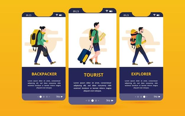 Zestaw ekranowych interfejsów użytkownika z ilustracjami typu podróżnik