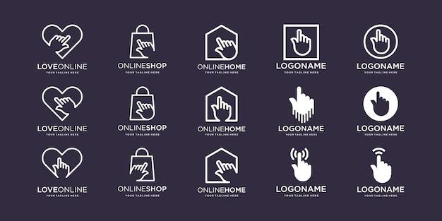 Zestaw ekranu dotykowego z palcem ręcznym logo love bag home square w połączeniu ze znakiem kursora elementu