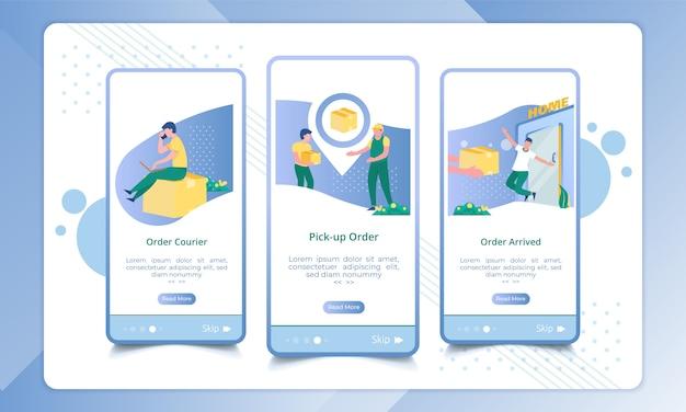 Zestaw ekranu wysyłania wysyłanie paczek zamówień, ilustracja usługi dostawy