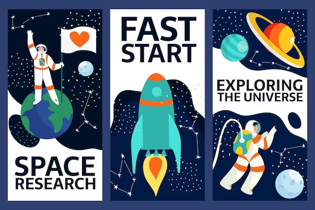 Zestaw eksploracji banerów kosmicznych. spaceman w przestrzeni kosmicznej z gwiazdami, księżycem, rakietą, asteroidami, konstelacją na tle. astronauta ze statku kosmicznego badający wszechświat i galaktykę.