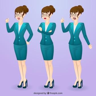 Zestaw ekspresyjnych znana businesswoman