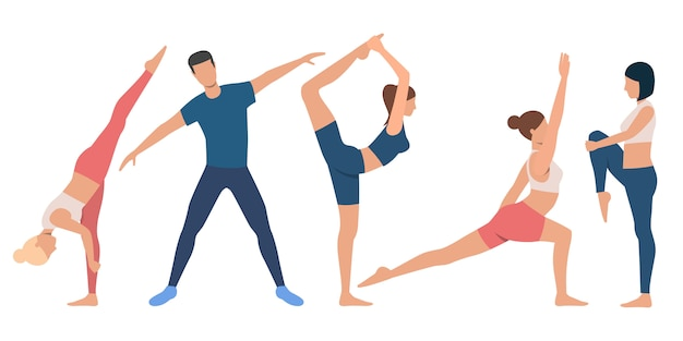 Zestaw elastycznych osób w różnych pozycjach
