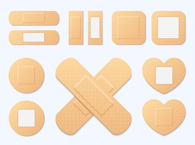 Zestaw elastycznych plastrów medycznych z bandażem samoprzylepnym. ilustracja gipsu medycznego, elastyczna łata bandażowa