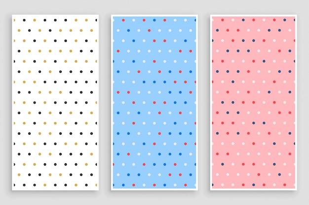 Zestaw elegancki banery małe kółko wzór polka