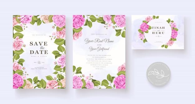 Zestaw elegancki kwiatowy zaproszenia ślubne