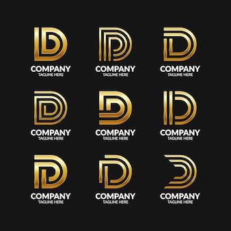 Zestaw elegancki monogram litery d logo szablon projektu
