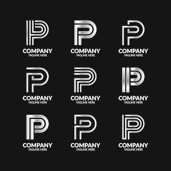 Zestaw elegancki monogram litery p logo szablon projektu