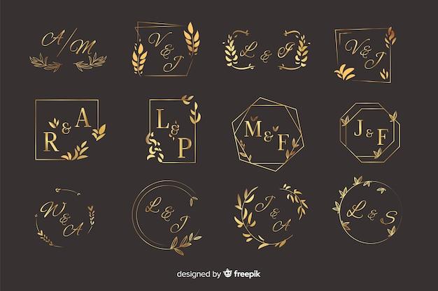 Zestaw elegancki ozdobnych monogram ślubny