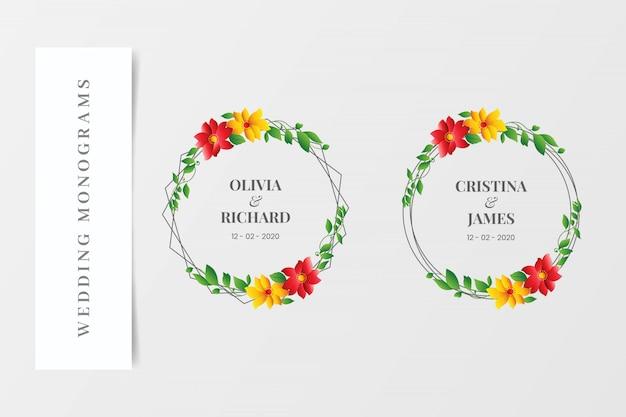 Zestaw elegancki ślub monogramy wieńce