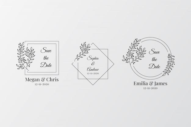 Zestaw elegancki ślub monogramy