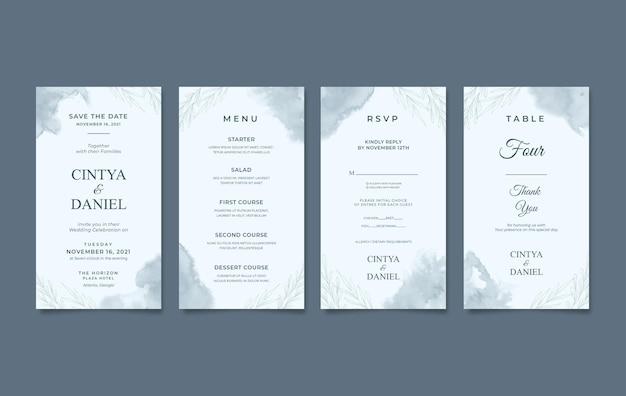 Zestaw elegancki szablon zaproszenia ślubne pionowe