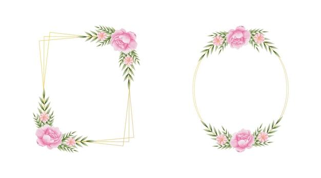 Zestaw eleganckich handdrawn akwarela kwiatowy wzór szablonu ramki