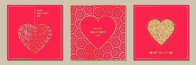 Zestaw eleganckich kart okolicznościowych happy valentines day