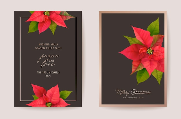 Zestaw eleganckich kart wesołych świąt i nowego roku z realistycznymi kwiatami poinsecji, wieniec kwiatowy. zimowe rośliny 3d projekt ilustracji na pozdrowienia, zaproszenia, ulotki, broszury, okładki w wektorze