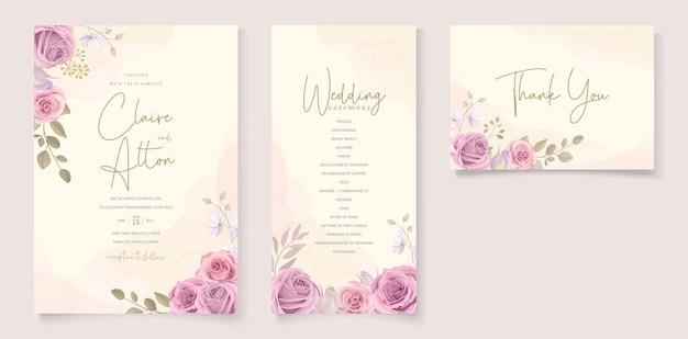 Zestaw eleganckich kwiatowych zaproszeń ślubnych