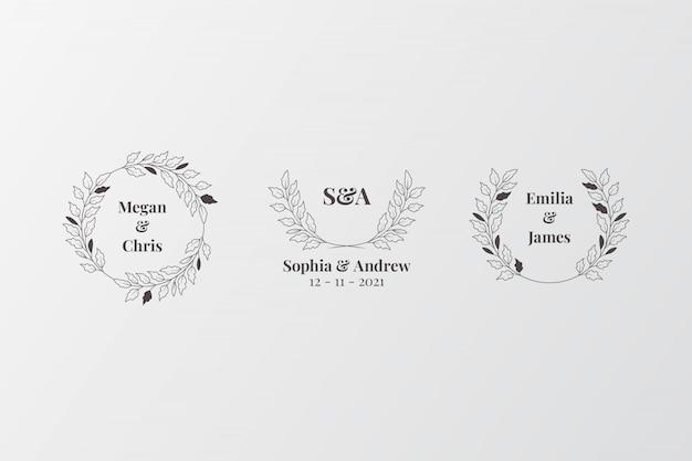Zestaw eleganckich monogramów ślubnych, początkowy twórca logo