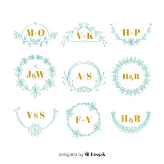 Zestaw eleganckich monogramów ślubnych
