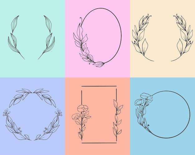 Zestaw eleganckich, ręcznie rysowane ramek z liśćmi