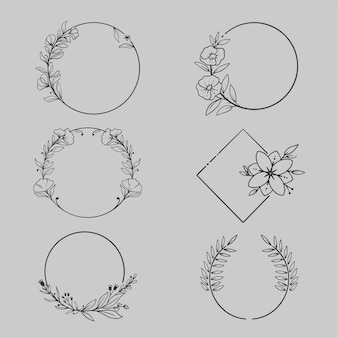 Zestaw eleganckich, ręcznie rysowane ramek