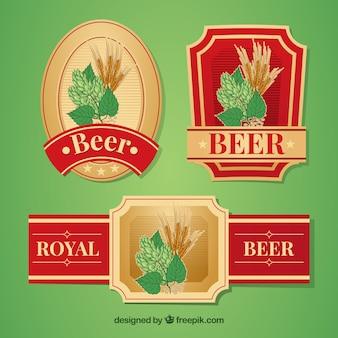 Zestaw eleganckich retro naklejki piwa