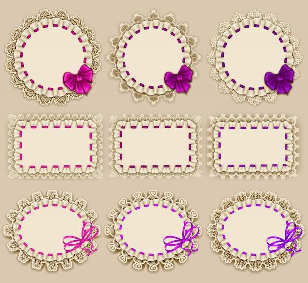 Zestaw eleganckich szablonów konstrukcji ramy na luksusowe zaproszenie