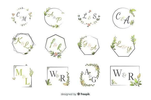 Zestaw eleganckiego ozdobnego monogramu ślubnego