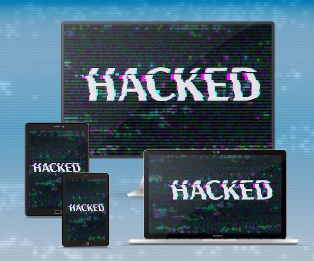 Zestaw elektronicznych gadżetów. atak hakerów. koncepcja cyberprzestępczości. projekt wektor