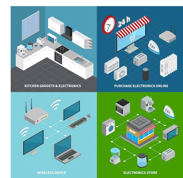 Zestaw elektroniki użytkowej 2x2 gadżetów kuchennych, urządzeń bezprzewodowych i kwadratowych kompozycji internetowych zakupów online izometryczny