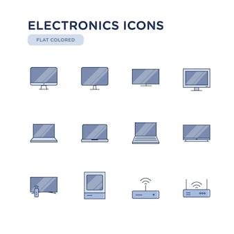 Zestaw elektroniki związane wektor kolorowe ikony. zawiera takie ikony jak telewizja, komputer, laptop, wi-fi i inne.